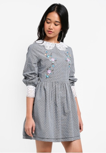 TOPSHOP black Broderie Embroidered Dress B1833AAF848240GS_1
