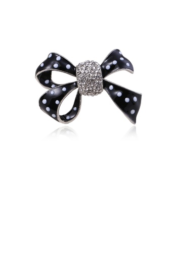 Glamorousky white Fashion Simple Black Ribbon Brooch with Cubic Zirconia AAE62ACEA87CF7GS_1