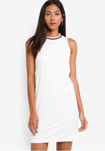 ZALORA BASICS white Basic Rib Contrast Dress 829D3AA7868591GS_1