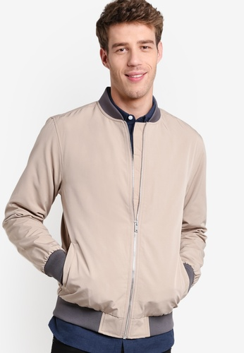 Buy Burton Menswear London Khaki Textured Bomber Jacket | ZALORA ...