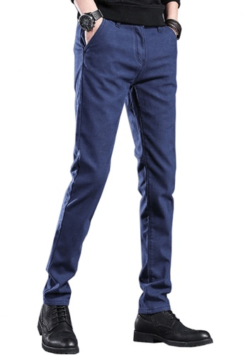 Twenty Eight Shoes navy VANSA Simple Slim Velvet Trousers VCM-P505V 58B20AAA1829A8GS_1