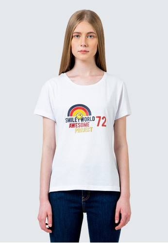 COLORBOX white Smiley world awesome project crew neck tshirt D43AEAAB00C7DEGS_1