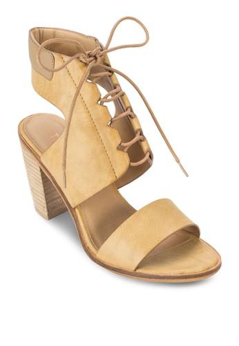 zalora 心得 pttTori 穿孔繫帶繞踝粗跟鞋, 女鞋, 鞋