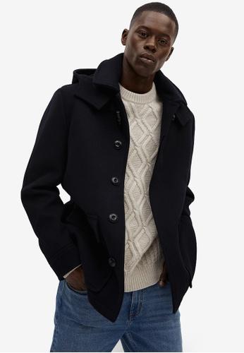 Mango Man blue Detachable Hood Wool Coat FF2E6AA976D610GS_1