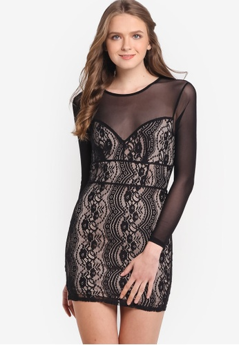 Miss Selfridge black Petite Mesh And Lace Dress MI665AA86LSNMY_1