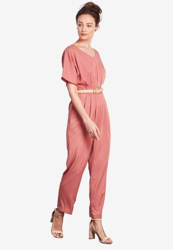 Nichii 粉紅色 V-Neck Tapered Jumpsuit B22DFAA1997AC3GS_1