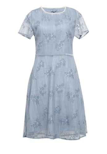 Chic Simple blue S S Dress W Pearl Trim Neck Line 1B7EBAAF5AC59FGS_1