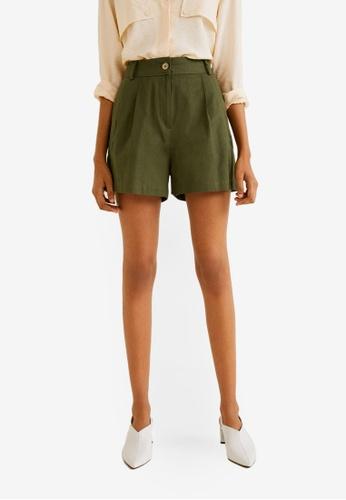 Mango green Pleated Shorts 108AEAA627D35AGS_1