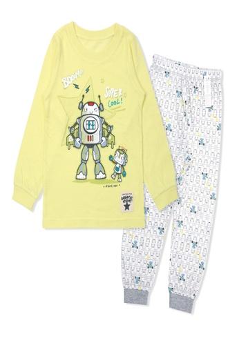 Organic mom yellow Organic Cotton Chris Robot Lightweight Long Sleeves Pjs EF187KA7C1BB7DGS_1