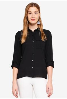 16169b56ba Dorothy Perkins black Black Pocket Roll Sleeve Shirt 4E935AAB48A891GS 1