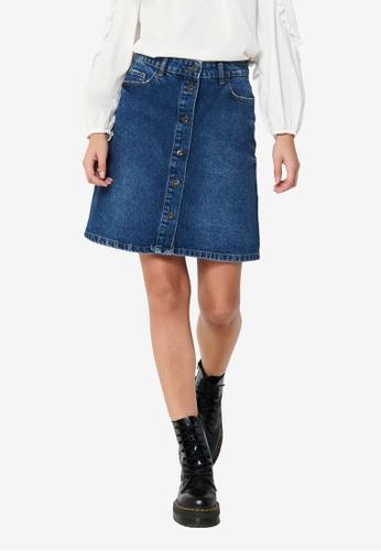 JACQUELINE DE YONG blue Selma Life Mix Button Skirt C3F9BAA1FC4FFDGS_1