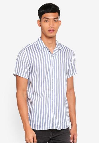 Only & Sons 藍色 短袖條紋襯衫 B3BA1AA1591933GS_1
