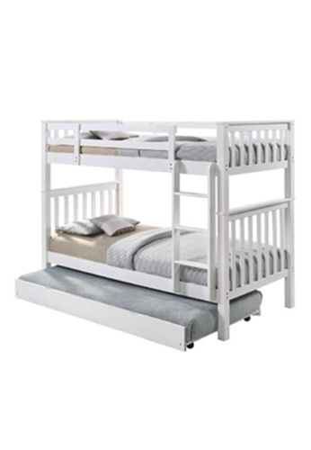 AMOUR Solid Wood Bunk Bed With Single Pull-out Bed 79C33HLED36325GS_1