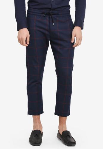 Topman blue Check Jogger Pants 65141AA5A67E6EGS_1