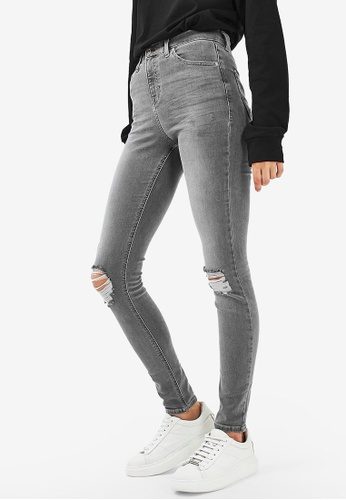 TOPSHOP 灰色 Grey Cast Ripped Jamie Jeans 75042AAFE315C3GS_1