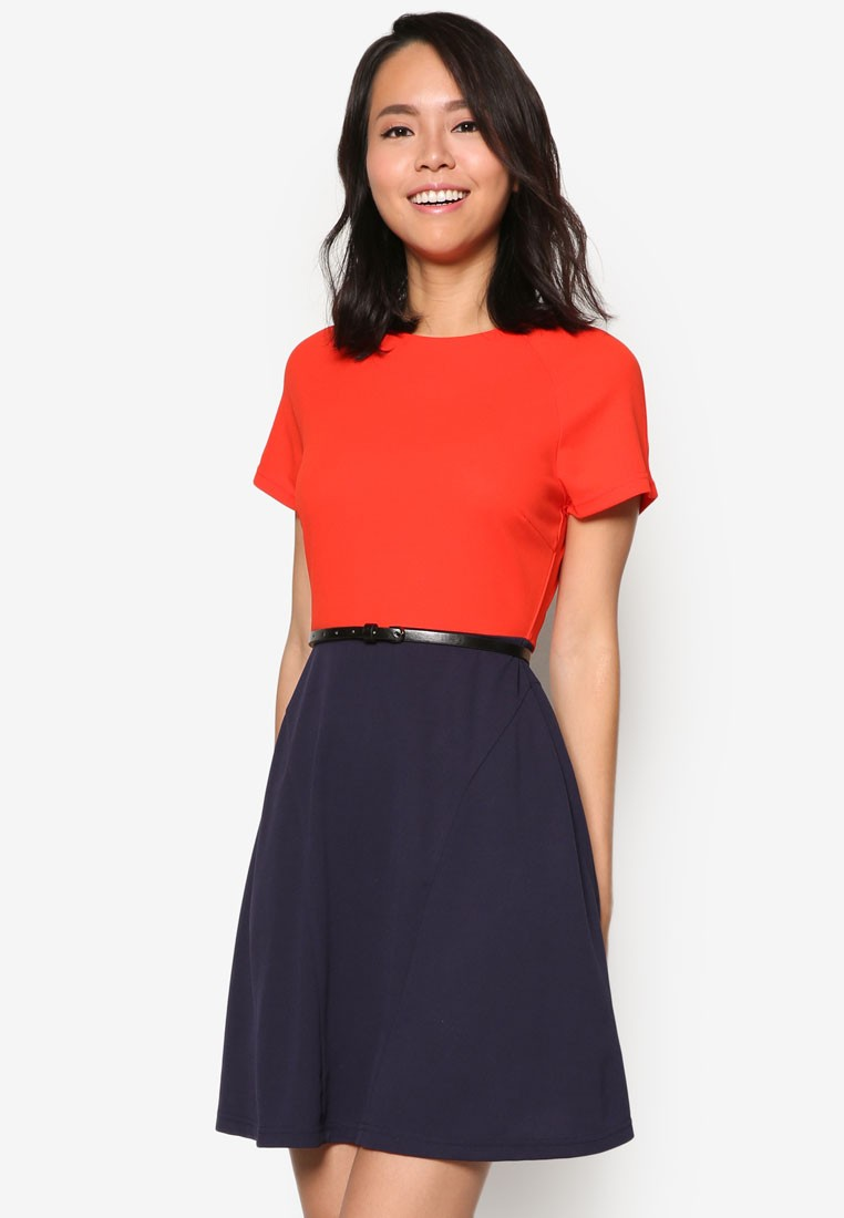Collection Colourblock Fit and Flare Dress