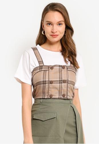 Heather brown Woven 2-In-1 T-Shirt E471FAA788F168GS_1