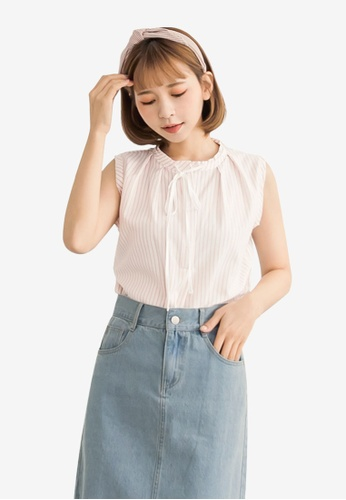 Tokichoi pink Stripe Tie-Front Sleeveless Top 75855AABAF56CAGS_1