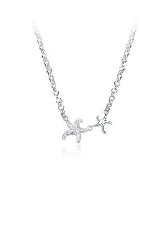 Glamorousky silver Simple and Fashion Starfish Necklace 9111CAC36076B5GS_1