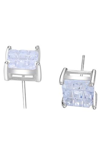 SC Tom Silver silver Square Single Stone Stud Earring 6MM SC872AC06FGJPH_1