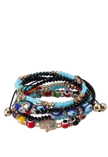 Treama 彩色串珠吊飾手環aldo台北門市組合, 飾品配件, 手鐲 & 手環