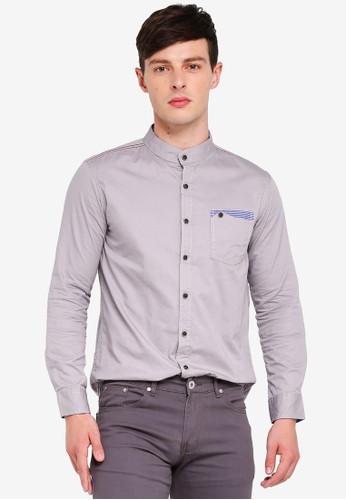 Fidelio grey Mandarin Collar Button Pocket Long Sleeves Shirt 2E154AA42D1D4FGS_1