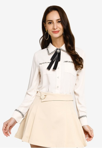 Hopeshow beige Long Sleeve Button Chiffon Blouse With Embroidery FBACEAAA30BC70GS_1