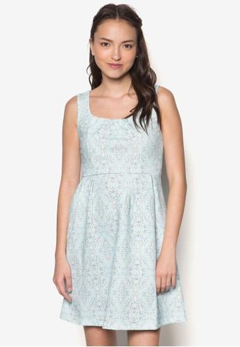 印花褶飾esprit 台北無袖連身裙, 服飾, 服飾