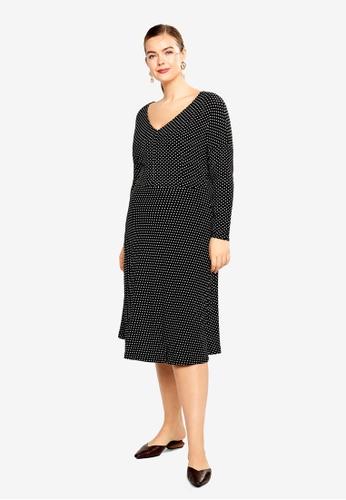 Violeta by MANGO black Plus Size V-Neckline Dress 24A18AA19C9451GS_1