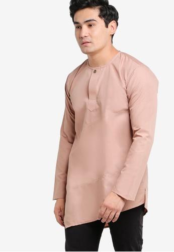 Amar Amran orange and brown and beige Kurta Al Fattah AM362AA61JXMMY_1
