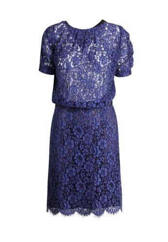 Sacai 藍色 二手 sacai 半開背藍色蕾絲連衣裙 603BDAA46CD746GS_1