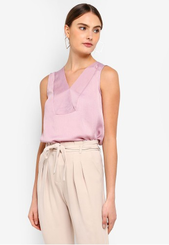 FORCAST pink Anaya V-Neck Top DAD1FAACE404CAGS_1