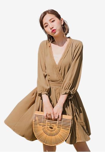 Tokichoi brown Bellted Wrap Dress 6624FAA1769E77GS_1