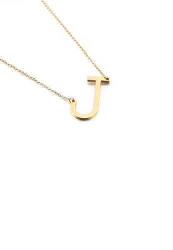 Glamorousky 銀色 簡約時尚鍍金色英文字母J 316L鋼吊墜配項鏈 EDC2FAC102B702GS_1