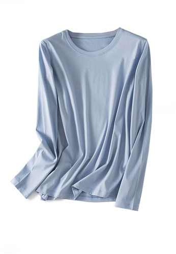 Twenty Eight Shoes blue VANSA Round Neck Mercerized Cotton Long-sleeved T-Shirt VCW-Ts0001U 3DB1AAA2DE322DGS_1