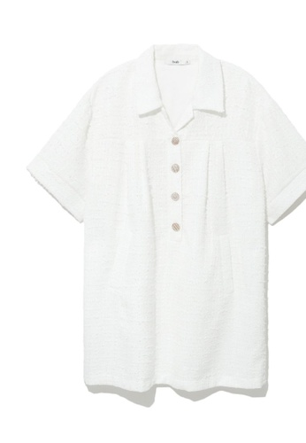 b+ab white Tweed shirt dress 27377AA283B5DCGS_1