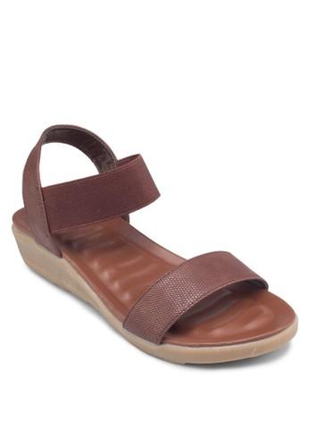一字繞踝彈性帶涼鞋,zalora 折扣碼 女鞋, 鞋