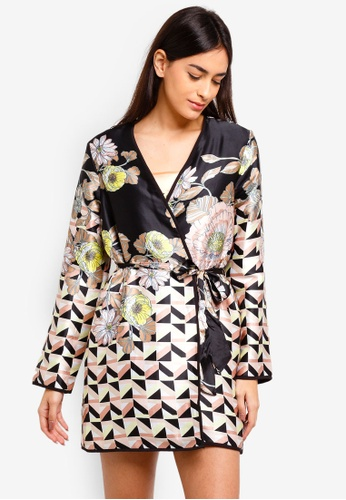 River Island black Satin Floral Padded Dressing Gown 5A80DAA0791DBBGS_1