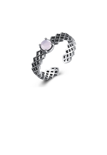 Glamorousky pink 925 Sterling Silver Fashion Elegant Hollow Geometric Pink Crystal Adjustable Open Ring F9D3AAC1ABCAC2GS_1