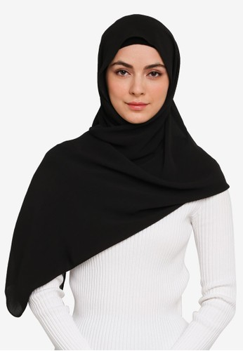 Hijabii black Anya Textured Sifon  Scarf in Black 988F1AA9813DAAGS_1