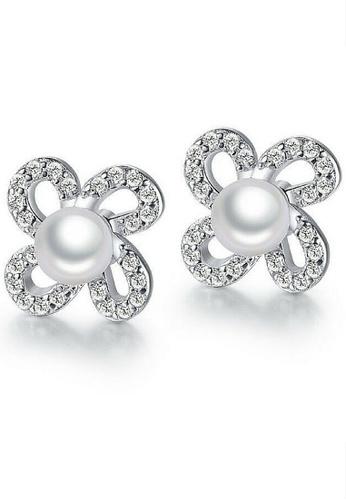 Vivere Rosse silver Flawless Pearl Stud Earrings VI014AC99MKEMY_1
