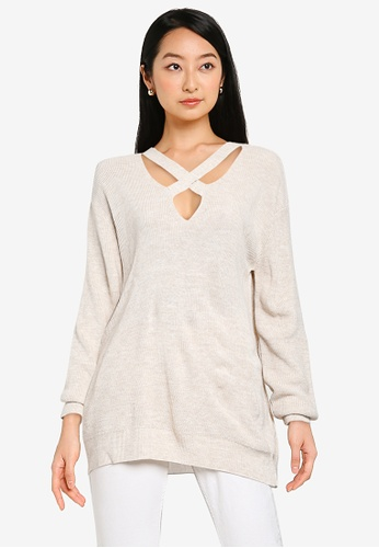 KOTON beige Front Cut-Out Sweater 7E620AAED6697EGS_1