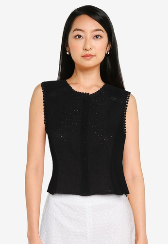 ZALORA BASICS black Button Down Eyelet Crop Top 37BB1AAA1A0B46GS_1