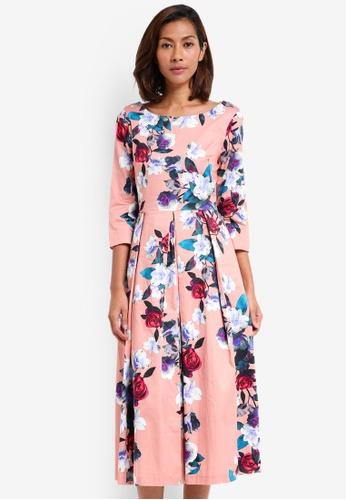 CLOSET pink V Back Neck Dress 81211AACB5F292GS_1