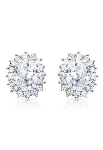 SO SEOUL silver Halo Oval Cut Diamond Simulant Stud Earrings 8B0EAACFDE9484GS_1