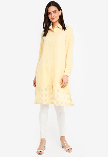 Gene Martino yellow Long Muslimah Top DE693AABF2A419GS_1