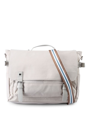 Bagstationz beige Nylon Convertible Laptop Messenger Bag 4C583AC54E3065GS_1