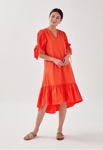 Love, Bonito orange Elettra Tie Sleeve Ruffle Hem Midaxi Dress 8F3CEAA3539065GS_1