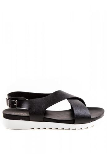 Otto black Cross Strap Sandals OT407SH0J1QJPH_1