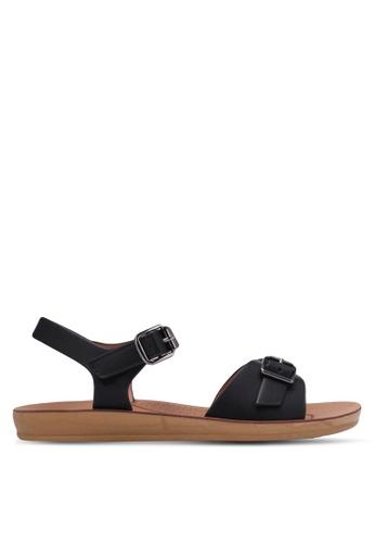 Noveni black Double Buckle Sandals NO978SH0RX37MY_1